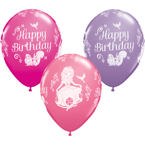 Twenty Five Eleven Inch Disney Latex Party Balloons With A Birthday Sofia Design In Assorted Colours These Officially Licensed Qualatex Are