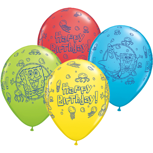Twenty Five Eleven Inch Latex Party Balloons With Spongebob Square Pants Birthday Design In Assorted Colours These Officially Licensed Qualatex