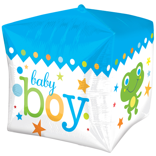 "15"" Cubez Blue Baby Boy Foil Balloon"