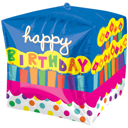 "15"" Cubez Happy Birthday Cake Foil Balloon"
