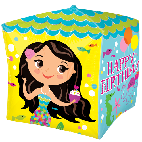 "15"" Cubez Happy Birthday To You Mermaids Foil Balloons"