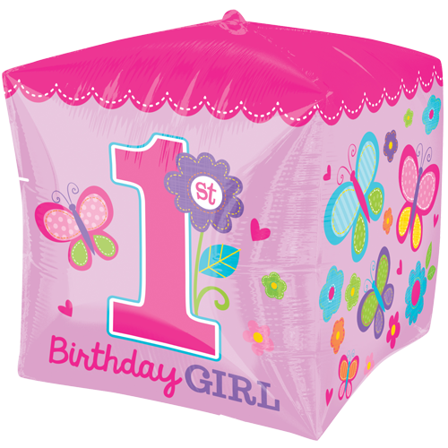15 Cubez Sweet Girl 1st Birthday Foil Balloon