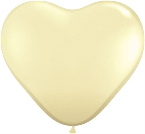 "15"" Jewel Ivory Silk Heart Latex Balloons x 50"
