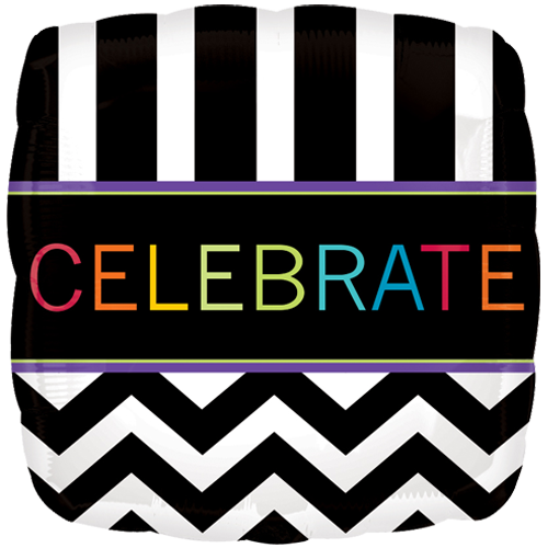 "18"" Celebrate Chevron Square Foil Balloon"