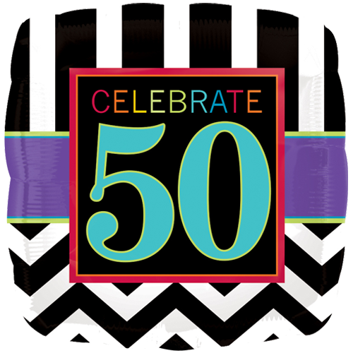 18 Chevron Square 50th Birthday Foil Balloon
