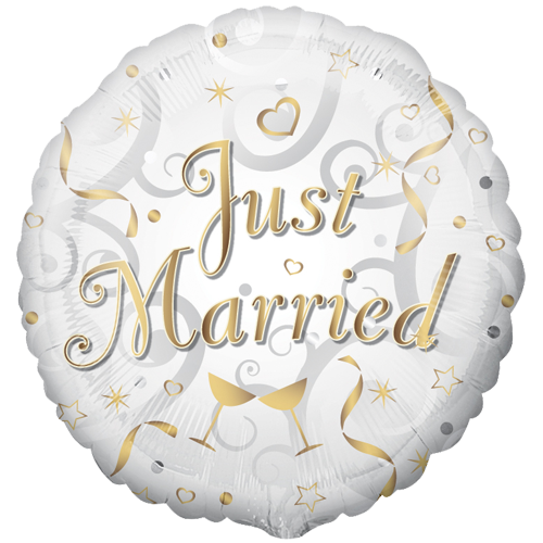 18 Just Married Circle Foil Balloon