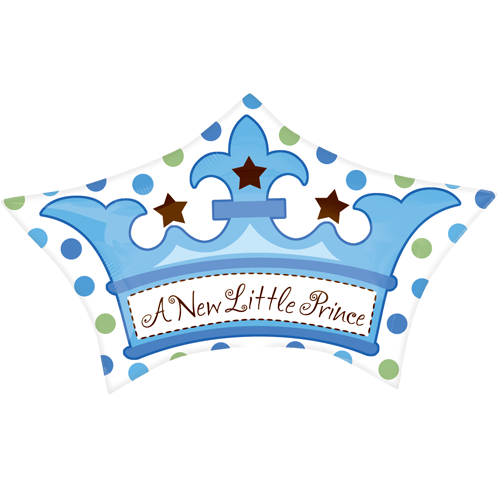 18 Little Prince Crown Foil Balloon 9292 P on Princess Tiara Transparent