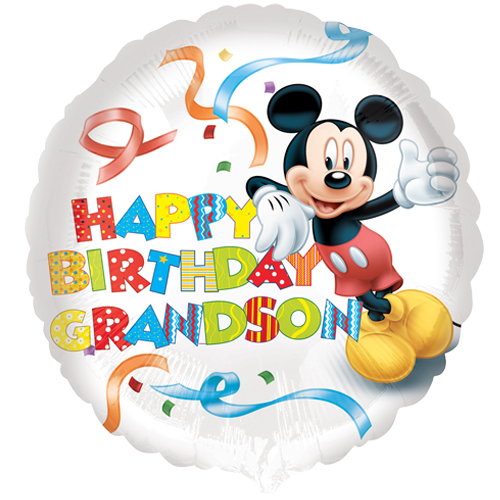 18 Mickey Mouse Happy Birthday Grandson Foil Balloon