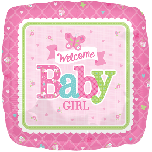"18"" Welcome Baby Girl Butterfly Foil Balloon"
