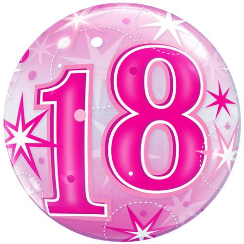 22 18th Birthday Pink Sparkly Bubble Balloon