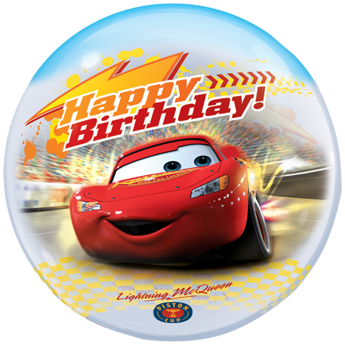 22 Cars Happy Birthday Bubble Balloon