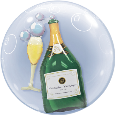 "24"" Bubbly Wine Bottle & Glass Double Bubble Balloon"