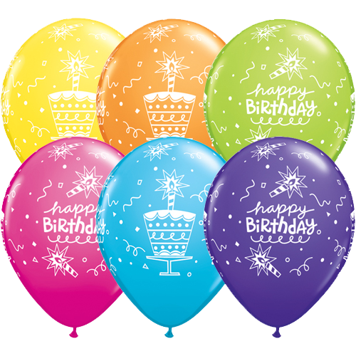 25 X 11 Happy Birthday Cake And Candle Latex Balloons