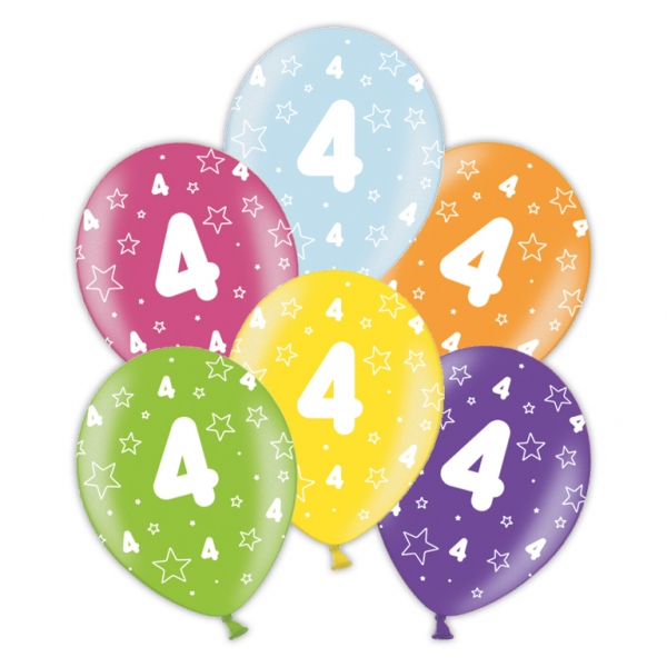 25 X 4th Birthday Assorted Colour Latex Balloons 10370 P