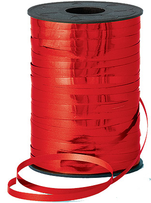 250m Red Metallic Curling Ribbon