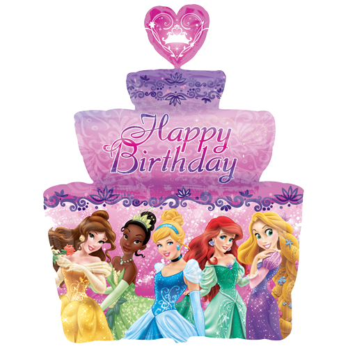 One Twenty Eight Inch Disney Princess Birthday Cake SuperShape Foil Balloon