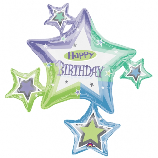 35 Birthday Star Cluster Supershape Foil Balloon