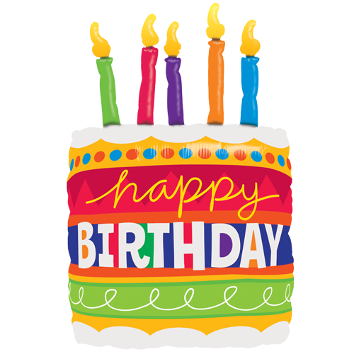 Thirty Five Inch Happy Birthday Cake And Candles Foil Balloon This Is A Premium Qualatex Mylar Sold Flat Suitable For Helium Or Air Fill